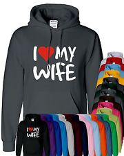 Mens Boy Unisex I Love My Wife Hoodies Sweatshirt Pullover Sweat Hoody All Sizes