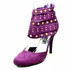 Purple Suedette high heel court shoes with studded ankle straps