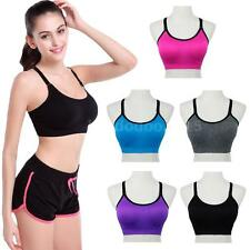 Womens Crop Top Bra Push Up Yoga Padded Vest Sports Fitness Brassiere Gym O9L4