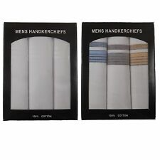 Mens White Hankies 100% Pure Cotton Handkerchiefs Pack of 3 in Presentation Box