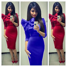 Women Sexy Big Bowknot Long Sleeve Bodycon Evening Party Cocktail Pencil Dress