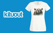 Double Exposure Grizzly Bear Winter Snow Animal T SHIRT Womens Girls S-2XL New