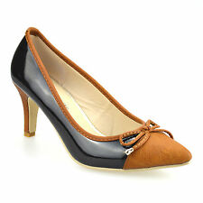 Ladies Womens New Mid Heel Slip On Smart Patent Work Pumps Party Court Shoe Size