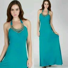 Turquoise Jeweled Neckline Maxi Dress S M L Green Blue Halter Long Maxi