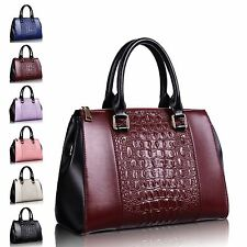 Women Alligator Midder Black Side Leather Tote Shoulder Crossbody Large Bag