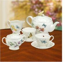 Butterfly Meadow 9 Piece Teapot, Sugar, Creamer & 2 Cup Saucers Set by Lenox NEW