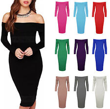 WOMENS LADIES CELEB PLAIN LONG SLEEVE OFF SHOULDER BODYCON MIDI DRESS PLUS SIZE