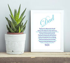 Personalised Dad Gift Father of the Bride Gift Dad Birthday Gift Wedding Poem