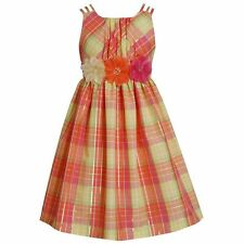 BONNIE JEAN Girls Coral Plaid 3D Flower Easter Empire Party Dress Size 4 5 NWT