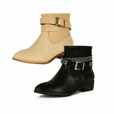 Ladies Low heel ankle boots with ankle strap and studded diamantes