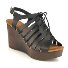 Beston CC22 Women's Peep Toe Gladiator Style Lace Up Platform Wedge Sandals