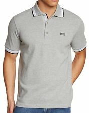 HUGO BOSS BY BOSS GREEN MEN'S CASUAL SPORT POLO T-SHIRT LIGHT GRAY