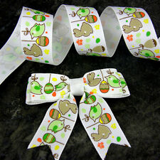 "7.5cm ( 3"") Bows x 10 pcs Easter Eggs & Bunnies grosgrain or 2m of Ribbon"