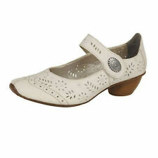 LADIES RIEKER LEATHER RIPTAPE STRAP CUT OUT BLOCK HEEL MARY JANE SHOES 43780