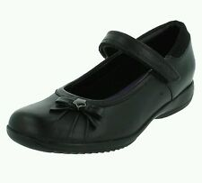 Clarks 'Daisy Spark' Girls Black Leather School Shoes. H FIT