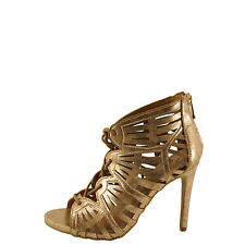 Anne Michelle SugarLove-35M Women's Rose Gold Lace Up Caged Stiletto