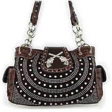 Rhinestone Studded Buckle Style Pistol Leather Shoulder Handbag Purse in 7 Color