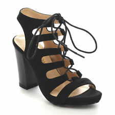 Black Gladiator Sandals Lace Up Open Toe Block Heel Womens Shoes Chase & Chloe