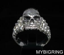 STERLING SILVER MEN'S BIKER SKULL & BONES RING JACK THE RIPPER ANTIQUED ANY SIZE