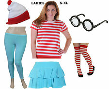 RED WHITE CHILDREN WOMENS MENS STRIPED T SHIRT HAT LOT FANCY DRESS COSTUME