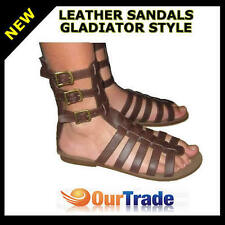 NEW PROHECY BROWN TAN  LEATHER GLADIATOR STYLE BUCKLE & ZIP SANDALS SHOES
