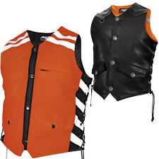Missing Link G2 DOC Reversible Leather/Hi-Vis Mens Motorcycle Safety Vests