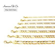 SOLID GENUINE 14K YELLOW GOLD CONCAVE FIGARO CHAIN NECKLACE PENDANT