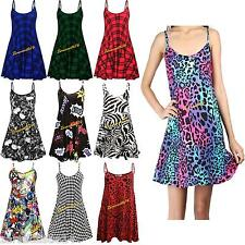 Ladies Women's Printed Sleeveless Flared Strappy Long Vest Top Mini Dress 8-26UK