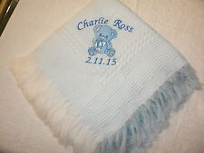 PERSONALISED BABY SHAWL NEW BABY GIFT EMBROIDERED teddy bear and name date