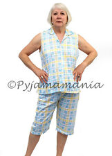 Pyjamas Ladies Sleeveless 2pc Pjs Capri Set (Sz 12-22) Blue Cheques Sz 12 14 16