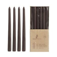 "Mega Candles - Unscented 10"" Taper Candles - Brown, Set of 12 CGA066-BR"