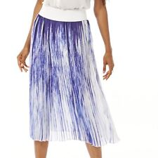 Blue / White pleated skirt with elasticated waist