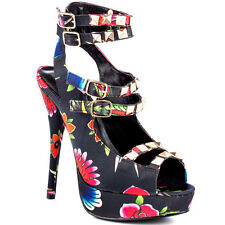 RUPAULS DRAG RACE BY IRON FIST TROPICAL MULTI STILETTO- FLORAL PLATFORM SHOES/SA