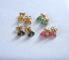 .54-.48 Ct. Ruby, Emerald or Sapphire  10K Yellow Gold '3 Stone' Earrings
