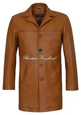 New 3476 Men 4 Buttons CLASSIC BLAZER Knee Length Tan Lambskin Leather Jacket