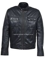 New Men's 5658 BLACK WAX Short Bomber Biker Motorcycle Style Real Leather Jacket