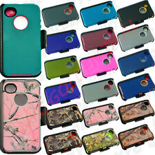 New Rugged Case for IPhone 4/4s w/Screen Protector&(ClipFits Otterbox Defender)