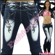 Womens Bootcut Jeans Tattoo Ladies Trousers Crazy Age Jeans Size 6,8,10,12,14 UK