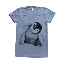 Women Penguin Graphic Tee American Apparel Triblend Tshirt Screen Print Track T