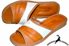 Ladies Women Tan Leather Handmade Slippers Shoes Sandal Flat Flip Flop Thong New