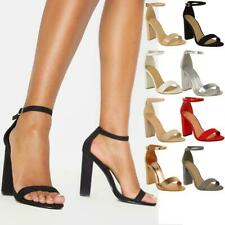 WOMENS LADIES BLOCK HIGH HEELS ANKLE STRAP SEXY OPEN TOE SANDALS SHOES SIZE NEW