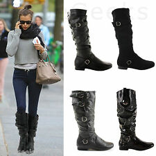 WOMENS LADIES LOW FLAT HEEL CALF WINTER ELASTIC RIDING BIKER ZIP KNEE BOOTS SIZE