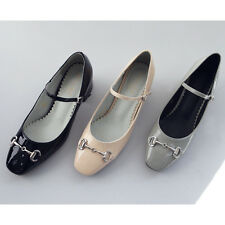 Women's glossy horse bit decoration maryjanes pumps black beige gray mid heels