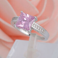 1Pc 925 Sterling Silver Pink Square Cubic Zirconia CZ Shiny Romantic Finger Ring