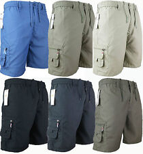 MENS PLAIN ELASTICATED SHORTS COTTON CARGO COMBAT SUMMER HOLIDAY CASUAL PANTS