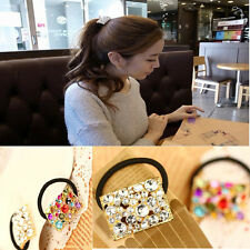 Crystal Rhinestone Elastic Flower Hair Band Rope Scrunchie Holder Ponytail Vogue