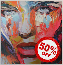 Blue Lady [70x70] FRANCOISE NIELLY Palette knife style Modern art Giclee canvas
