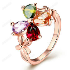 Women Colorful Cubic Zirconia Flower Cocktail Ring 18K Real Gold Plated jewelry