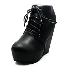 Black soft faux leather lace up platform high wedge heel ankle boots
