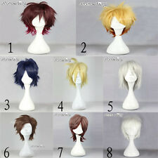 8 Different Colours Layered Style Short Anime Cosplay Stylish Hair Wig + Wig Cap